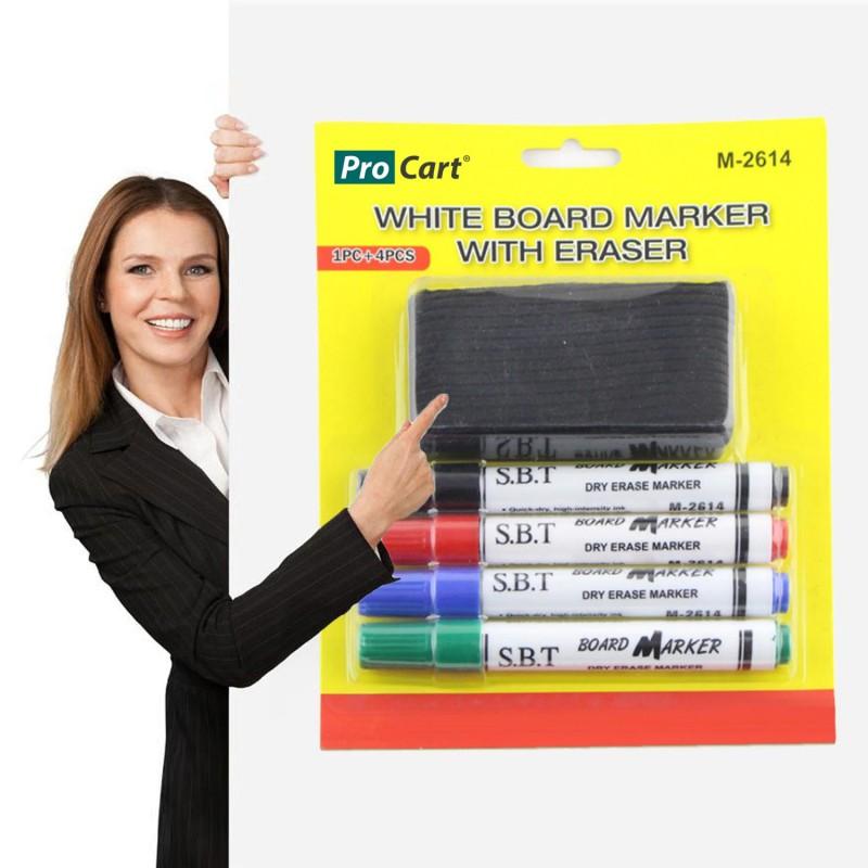 Set 4 markere si burete pentru tabla magnetica, uscare rapida