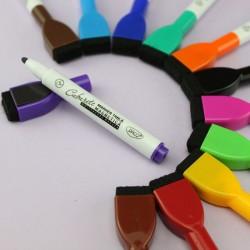 Set 12 markere cu burete pentru tabla magnetica, varf rotund 2 mm, uscare rapida