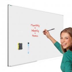 Tabla magnetica whiteboard, 90x120 cm, rama aluminiu slim, suport markere