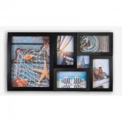 Rama foto multipla de perete, capacitate 6 poze, design elegant, negru