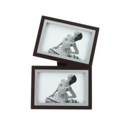 Rama foto dubla, format 10X15 cm, lemn cu insertie metalica, Resigilata