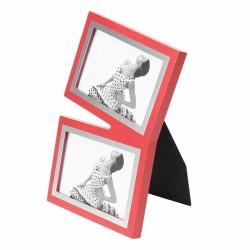 Rama foto 10X15 cm, lemn cu insertie metalica, pentru 2 fotografii, Resigilata