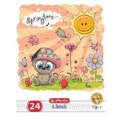 Caiet Tip I A5 24 file, coperti policromie, Herlitz Cute Animals Premium