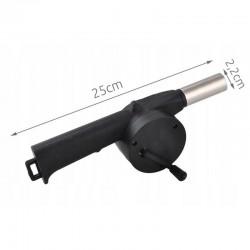 Suflanta manuala pentru aprinderea focului, varf metalic, manivela, 25x2.2cm, carlig suspendare, negru