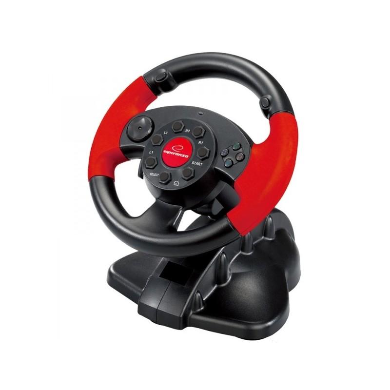 Volan gaming cu pedale, 13 butoane, vibratii, compatibil PC Playstation 2 Playstation 3, Resigilat