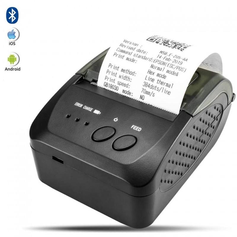 Imprimanta termica mobila 58 mm, USB, Bluetooth, Android, iOS, Windows, 2000 mAh, incarcare duala