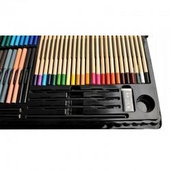 Trusa pictura si desen pentru copii, 258 elemente, acuarele, creioane, pensule, carioci, valiza depozitare