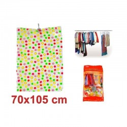 Sac pentru vidat 70x105cm, carlig suspendare, model buline colorate, pentru textile