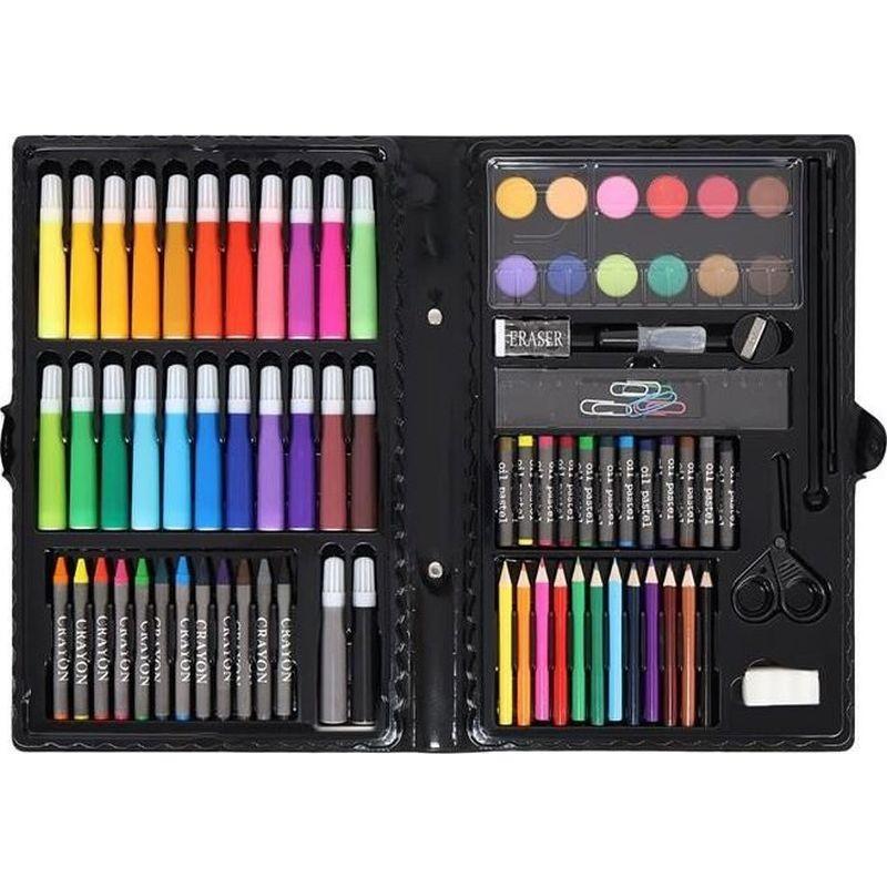 Trusa pictura si desen 86 piese, valiza depozitare, creioane colorate, carioci, acuarele
