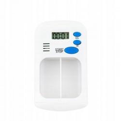 Organizator medicamente cu alarma, 2 compartimente, design compact 5.5x9 cm