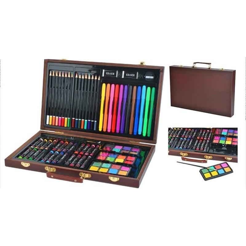 Trusa desen si pictura 81 elemente, carioci, creioane, acuarele, valiza din lemn