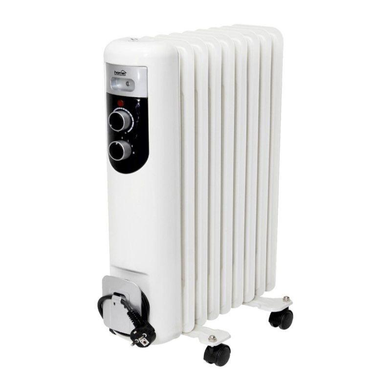 Radiator electric pe ulei 2000 W, 9 elementi, 3 trepte incalzire, termostat mecanic, 12x60x44 cm