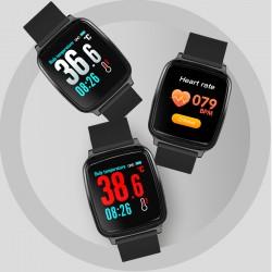 "Smartwatch Bluetooth cu termometru, nivel oxigen, tensiune arteriala, 15 functii, iOS/Android,  LCD 1.3"" TFT, IP67"