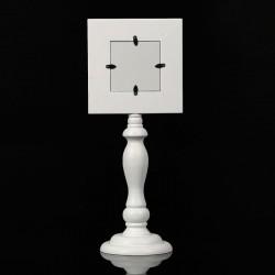 Rama foto Patrat 9.5x9.5 cm, lemn alb, picior elegant pentru decor vintage masa