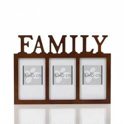 Rama foto tripla Family, format foto 10x15, fixare perete, 32.3x1.2x23 cm, lemn maro inchis