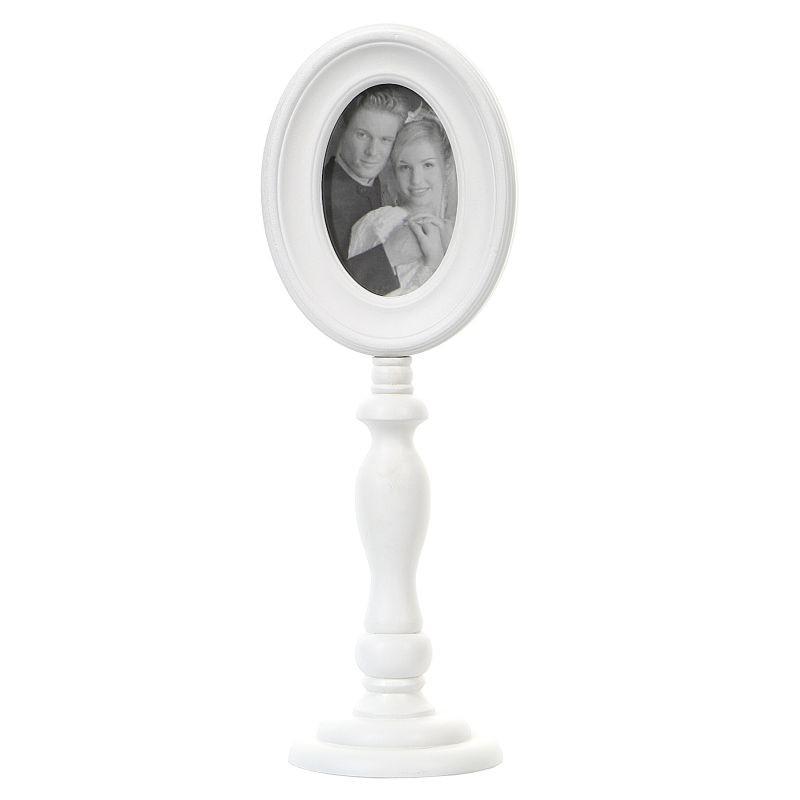 Rama foto ovala, picior inalt din lemn alb, design vintage decor masa, 21x16x44cm
