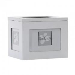 Album foto din lemn alb, tip cutie personalizabila, stocare 96 fotografii 10x15, 20x16.5x15 cm