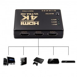 Switch 3x1 splitter HDMI 4K Ultra HD, 3D, telecomanda, 2 moduri functionare, 3.4Gpbs