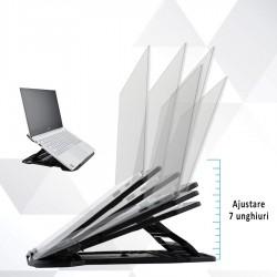 Stand pentru laptop, unghi ajustabil 7 trepte, suprafata anti-alunecare, universal
