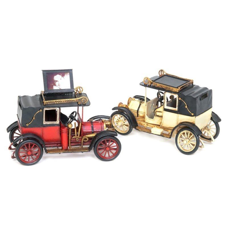 Macheta masina Old Car, rama foto pliabila vintage, metal, 20x10x13 cm