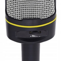 Microfon universal AUX, trepied, Jack 3.5 cm, compatibil smartphone, negru