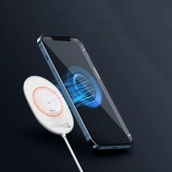 Incarcator wireless, pentru iPhone 12, 15W, USB, protectie supraincalzire, design compact