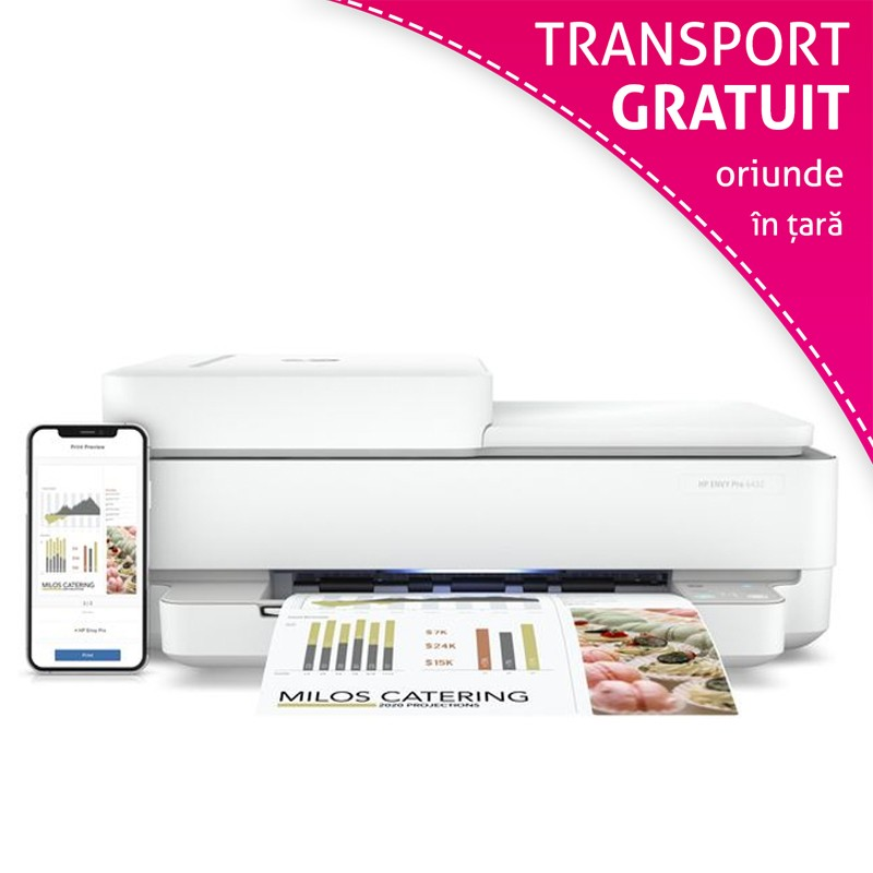 Multifunctionala HP Envy 6420, A4 color, wireless dual band, fax, ADF, duplex automat