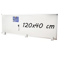 Tabla magnetica alba 40x120 cm, 2 fete, rama de aluminiu, prindere desktop pe birou