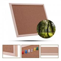 Panou din pluta 30x40cm, sistem prindere pe perete, rama lemn, 5 ace colorate
