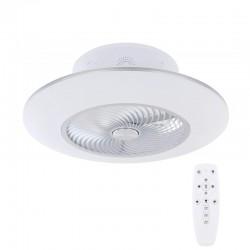 Ventilator de tavan cu lustra, LED 40W, telecomanda, temporizator, metal alb
