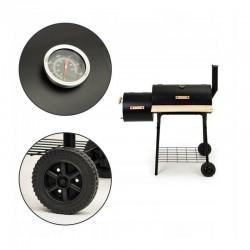 Gratar carbune, BBQ, afumatoare, termometru incorporat, roti, accesorii