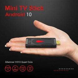 Dongle TV Android 10, Quad Core 1.35 Ghz, 4K 60FPS, HDMI, slot TF, cu telecomanda