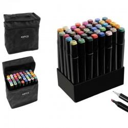 Set 40 markere colorate duble, scriere si evidentiere, geanta depozitare