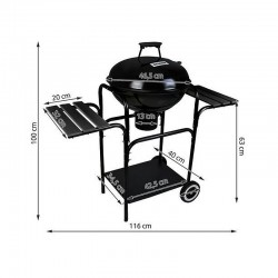 Gratar rotund BBQ pe carbuni, mobil, rafturi laterale, capac, 46.5 cm, Kaminer