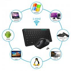 Kit tastatura si mouse Wireless, Ultra-Slim, DPI 3200, 3 butoane programabile,Rii