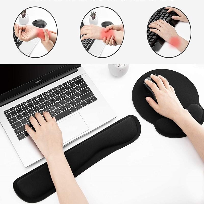 Kit mouse pad ergonomic si suport tip pad pentru tastatura, spuma cu memorie, Rii