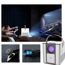 Video proiector LED Full HD, Home Theatre cu difuzor portabil, Android, HDMI, USB, telecomanda