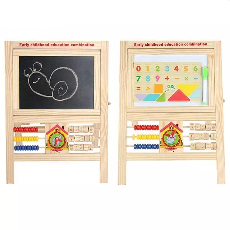 Tablita magnetica din lemn 25x20 cm, 2 fete, alfabet, cifre, socotitoare, ceas, creta/marker