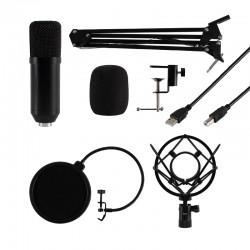 Set microfon profesional, USB, brat articulat, filtru pop-up flexibil, studio, streaming