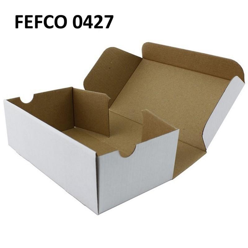 Cutie cu autoformare 250x220x95 mm alba, carton microondul E 400 g, FEFCO 0427