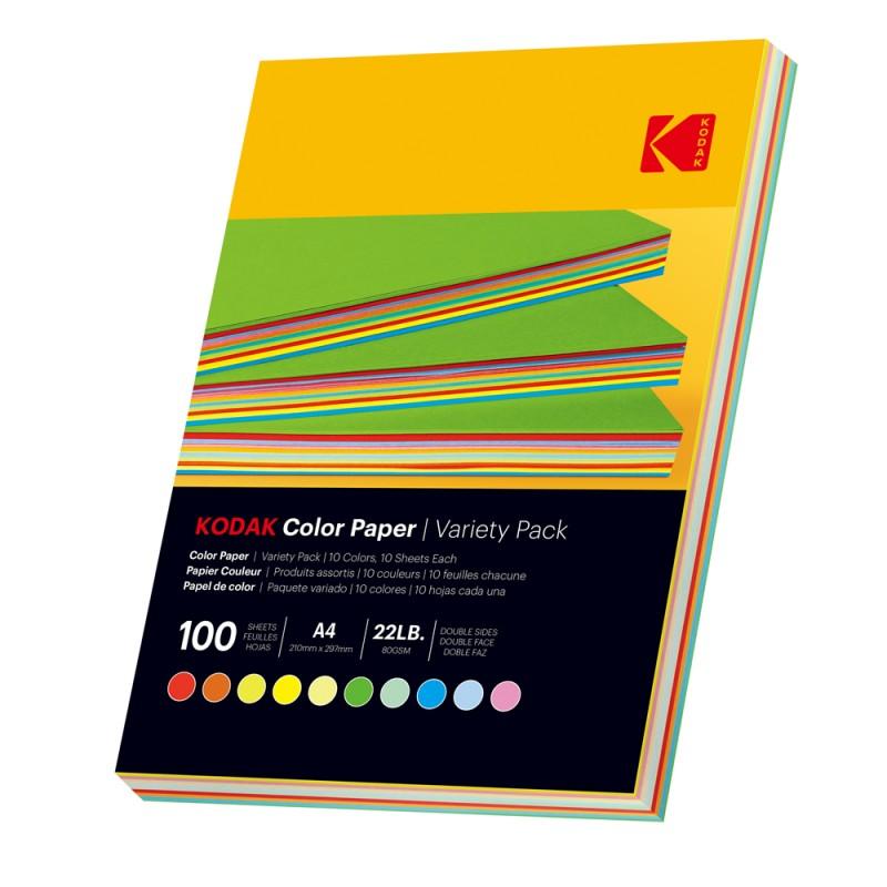 Hartie colorata A4 Kodak, printabila fata verso, 10 culori, 80g, top 100 coli