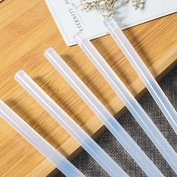 Batoane silicon pentru lipit, diametru 7 mm, transparente, set 10 bucati